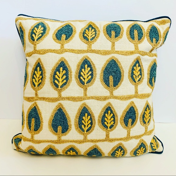Pier 1 Other - PIER 1 TEXTURED BLUE LEAF THROW PILLOW COVER